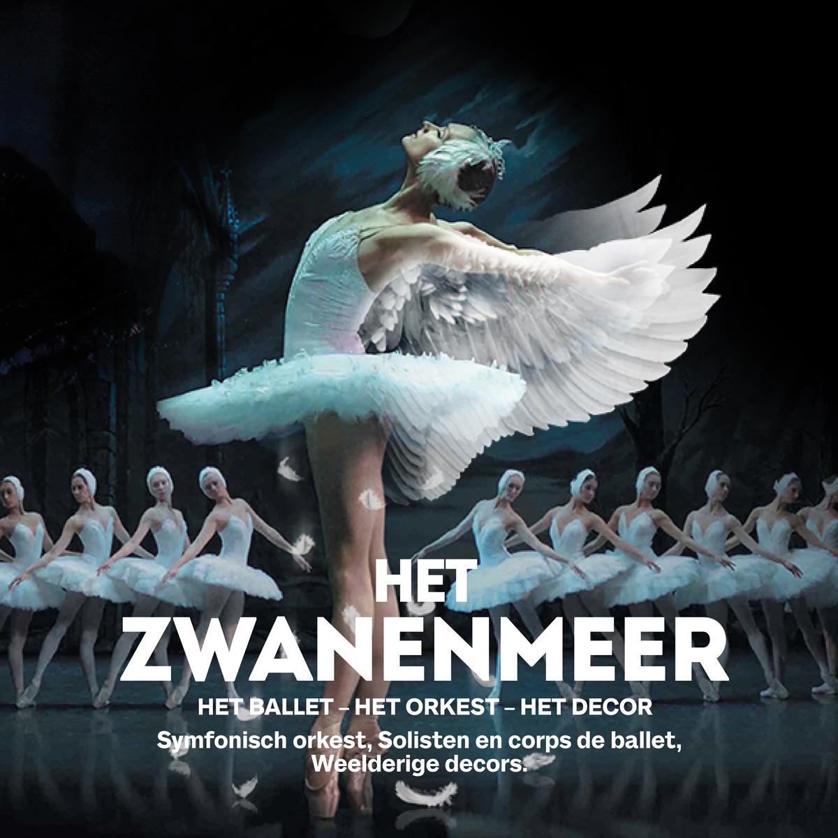 Het Zwanenmeer, het ballet, het symfonisch orkest, solisten en corps de ballet, weelderige decors
