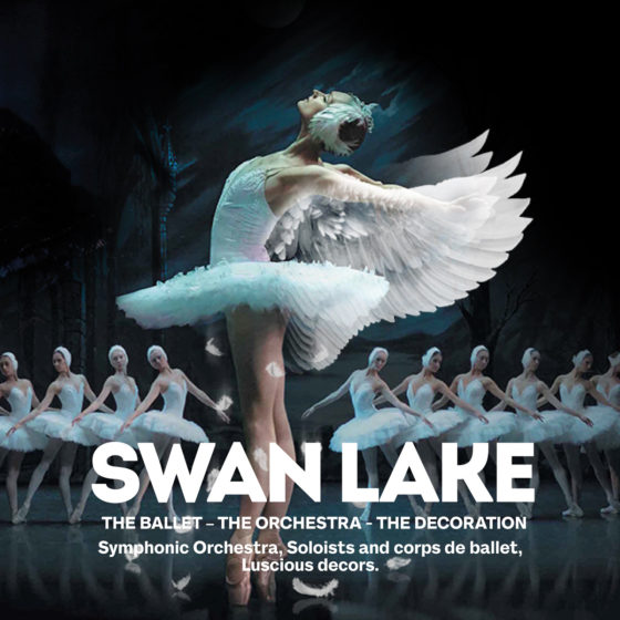 Swan lake, the ballet, the symphonic orchestra, soloists and corps de ballet, luscious decors