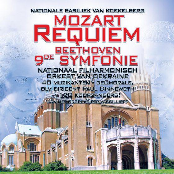 Mozart Requiem_Beethoven Symfonie Basiliek koekelberg, national filharmonisch orkest van Oekraine, 40 muzikanten, 120 koorzanger, deChorale, OLV dirigent Paul Dinneweth